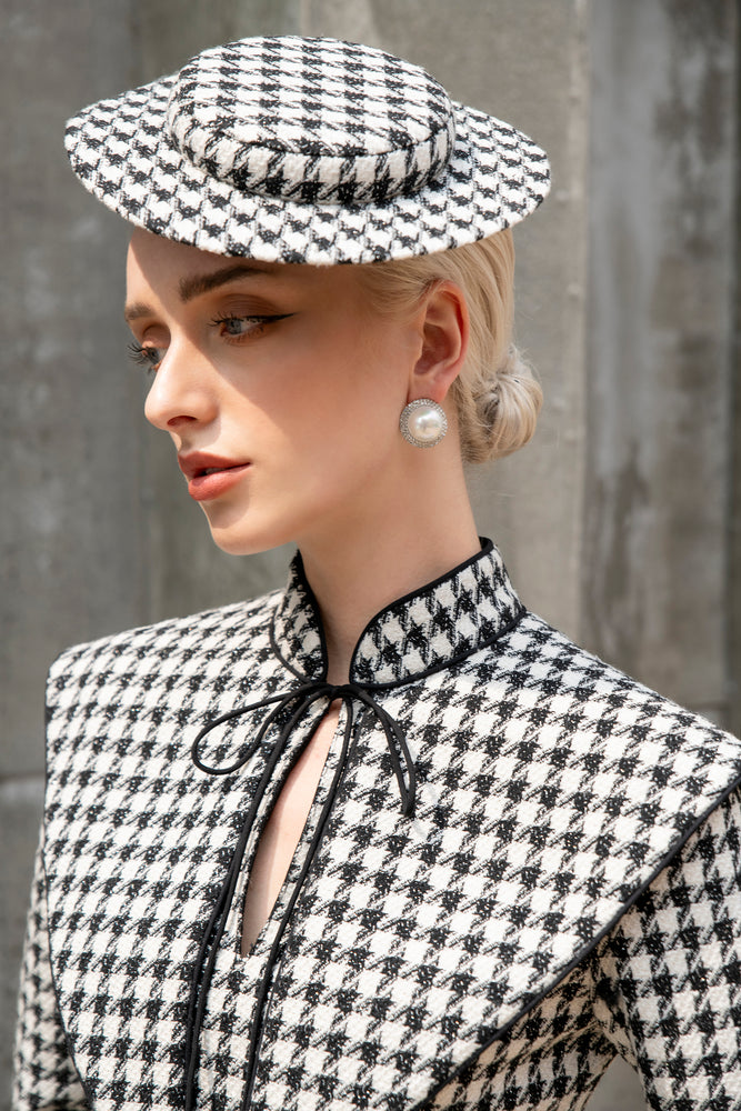 Wallis Hat - Black and White Houndstooth