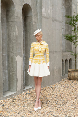 Load image into Gallery viewer, Kelly Dress Yellow Tweed
