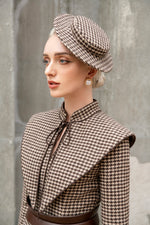 Wallis Hat - Small Brown Houndstooth