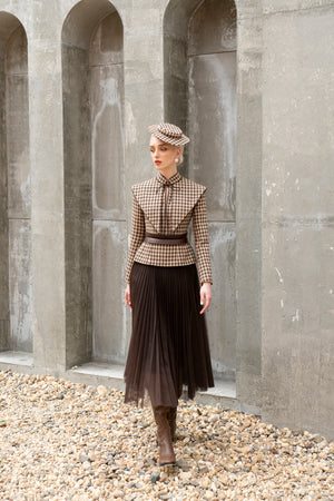 Load image into Gallery viewer, Jackie Jacket - Brown and Beige Houndstooth