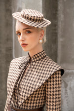 Wallis Hat - Brown and Beige Houndstooth