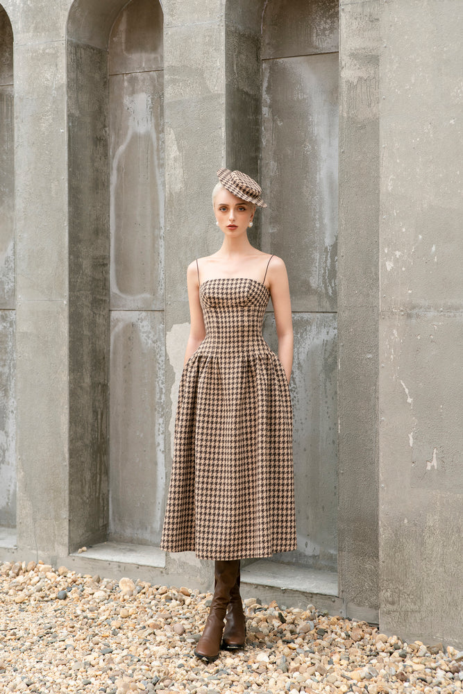 Rania Dress - Brown and Beige Houndstooth