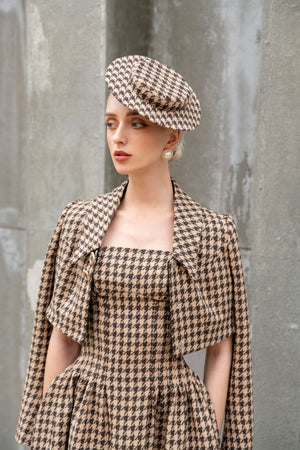 Rania Jacket - Brown and Beige Houndstooth