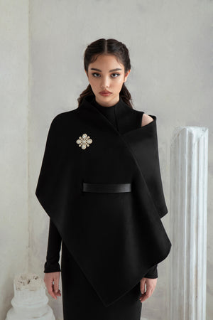 Melania Scarf Cape - Black