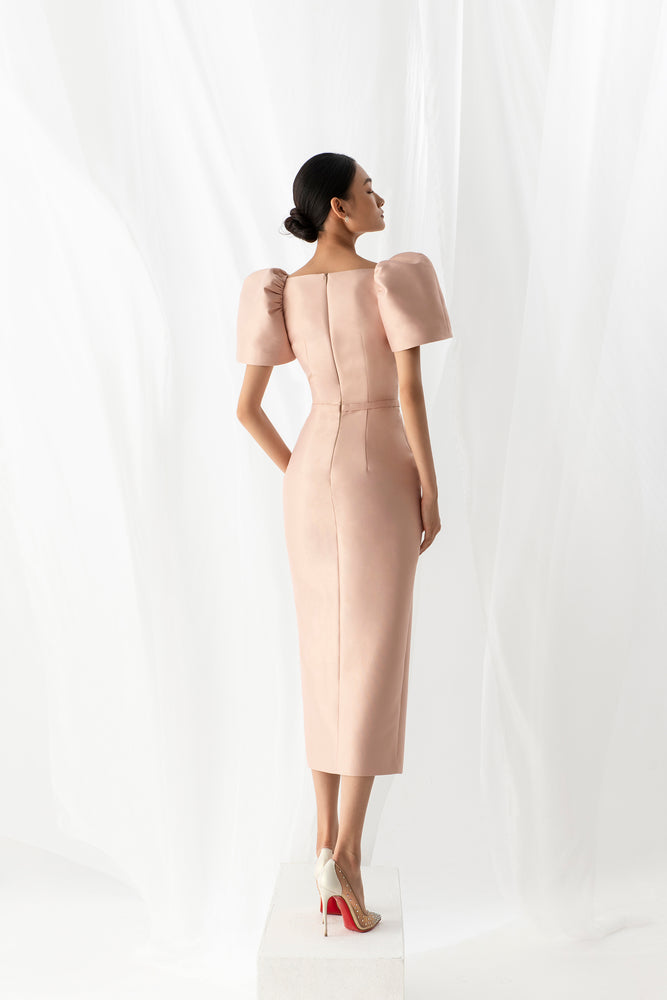 Load image into Gallery viewer, PUFF SLEEVE PENCIL DRESS