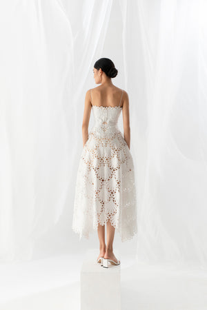 Load image into Gallery viewer, SCALLOP LACE MIDI DRESS