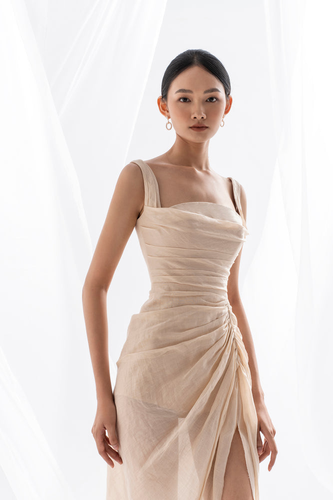 ORGANZA LINEN DRAPED DRESS