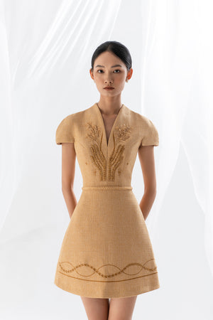 WHEAT EMBROIDERED DRESS