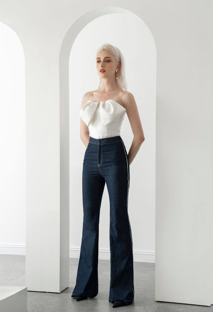BOW TOP & DENIM TROUSERS