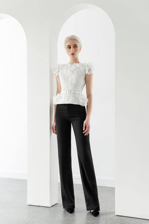 Load image into Gallery viewer, FLORAL LACE TOP & STRAIGHT TROUSERS