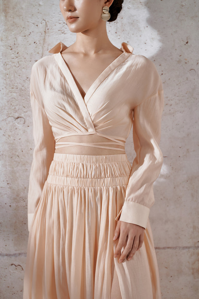 Organza Silk Top - Beige