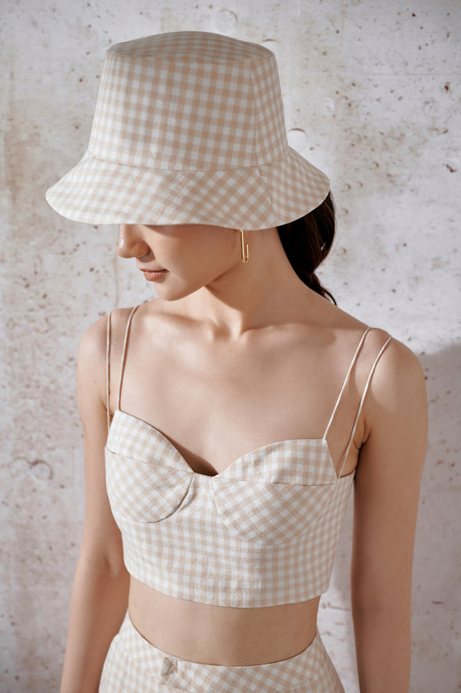 Cotton Gingham Bra-Top