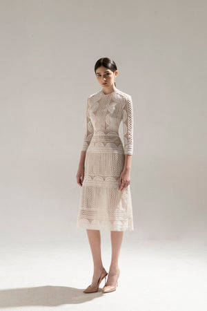 HALF MOON LACE DRESS & CASHMERE COAT
