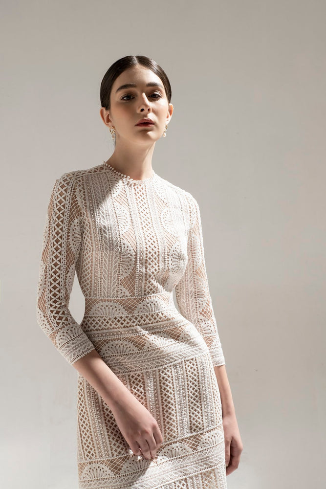 Load image into Gallery viewer, HALF MOON LACE DRESS & CASHMERE COAT