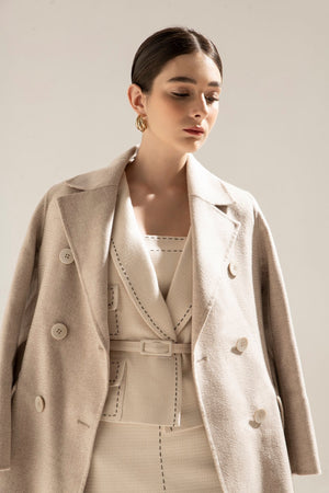 TWEED BOX BLAZER & TWEED DRESS & CASHMERE COAT