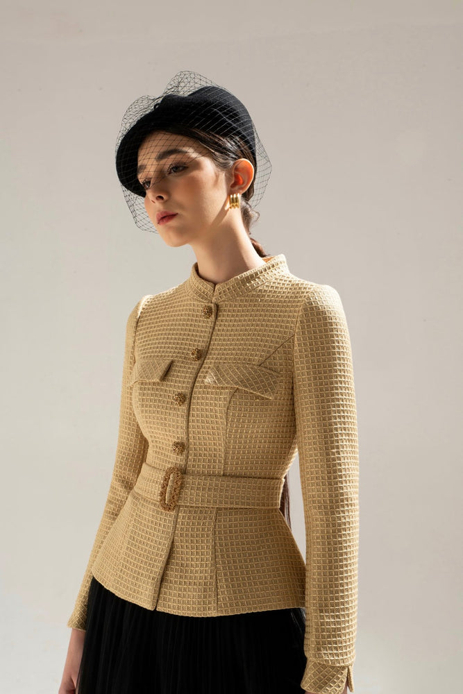 Load image into Gallery viewer, GOLD TWEED JACKET & BLACK PLEAT SKIRT