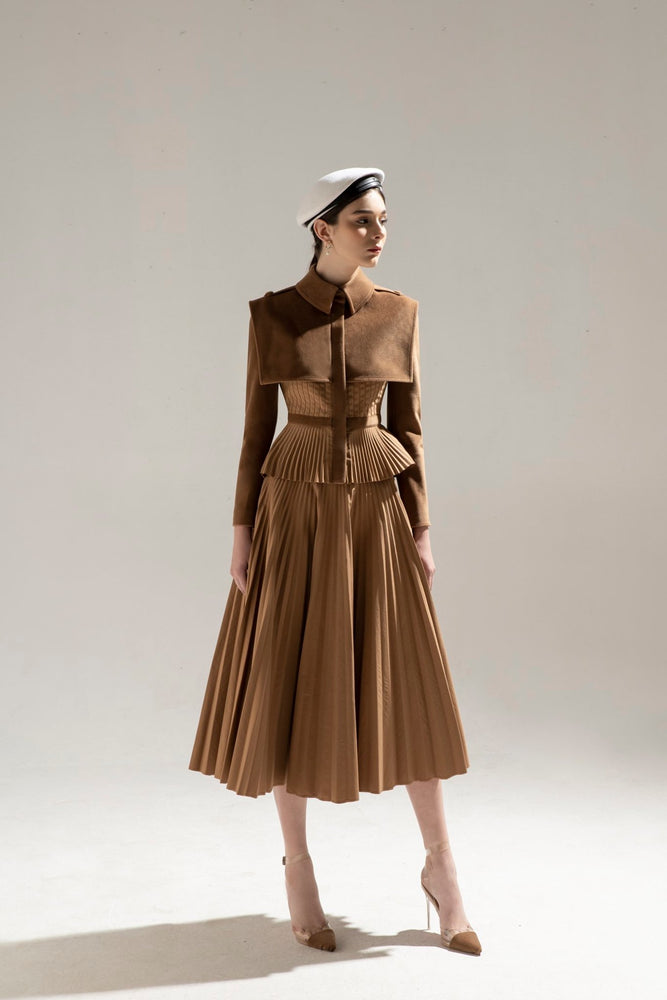 Load image into Gallery viewer, SAILOR JACKET & CHOCOLATE PLEAT SKIRT
