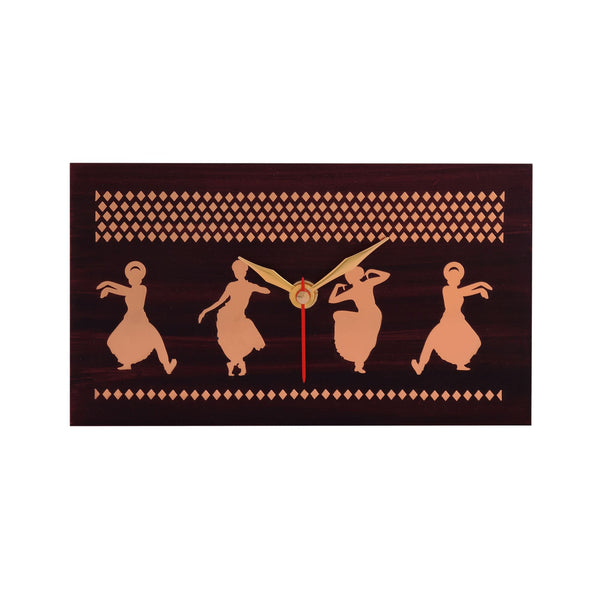 Bharatnatyam Dancer Table Clock Metal on MDF