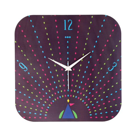 Geometric Peacock Wall Clock