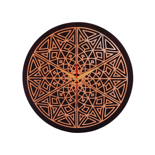 Lotus Abstract Wall Clock Metal on MDF