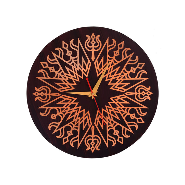 Trishul Abstract Wall Clock Metal on MDF