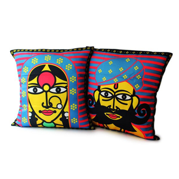 Rajasthani Couple Cushion Covers - Set of 2