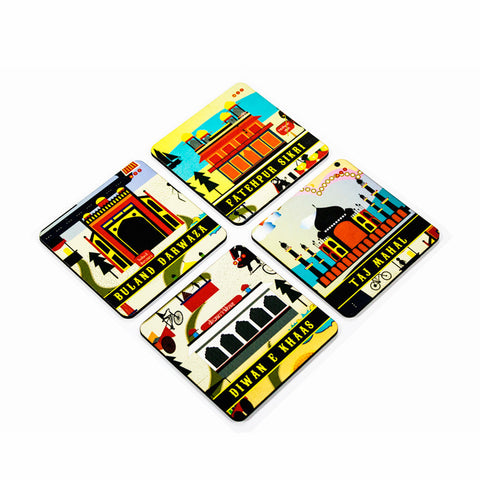 Agra Coaster Set with Stand - Set of 4