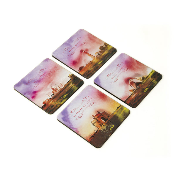 India Monuments Coaster - Set of 4 with Stand