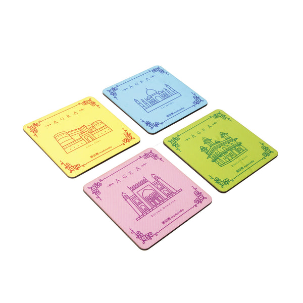 Agra Monuments Coaster Set - Set of 4 with Stand
