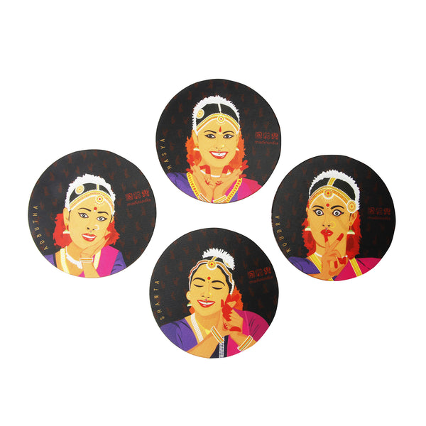 Bharatnatyam Dancers Coaster Set - Set of 4 with Stand