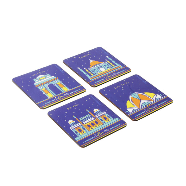 I Love Delhi Coaster Set - Set of 4 with Stand