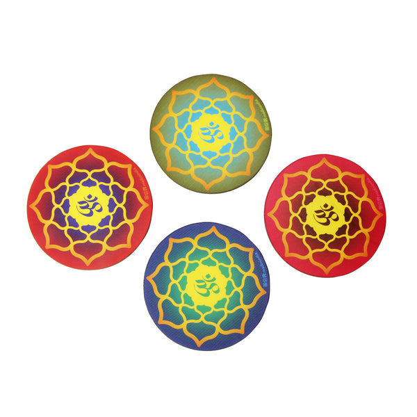 Om Coaster Set - Set of 4 with Stand - New