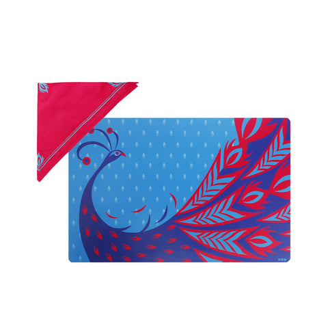 Classic Peacock Table Mats & Napkins - Set of 2