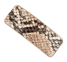 BROWN ANIMAL SCALE PRINTED RECTANGULAR HAIR CLIP