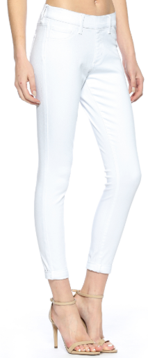 CELLO Mid Rise Double Rolled Cuff Pull On Crop Skinny - White