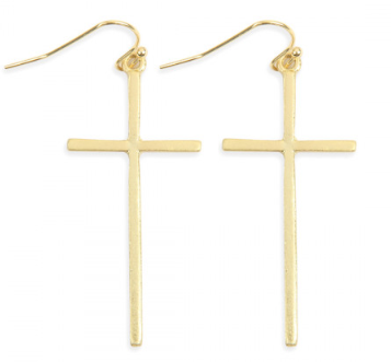 GOLD CAST CROSS HOOK DROP EARRINGS