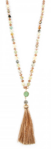 AMAZONITE TASSEL NATURAL STONE NECKLACE