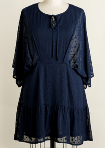 Bell Sleeve Textured Dress with Metallic Threading and Front Tie- NAVY