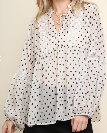 Sheer Polka Dot Babydoll Top