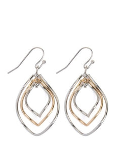 WIRE HAMMERED MARQUISE HOOK EARRINGS - SILVER GOLD