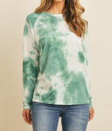 Emerald Tie-Dye Long Sleeve Top