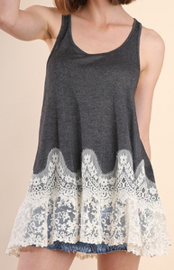 Basic Racerback Tank Top with a Floral Lace Hem - Charcoal