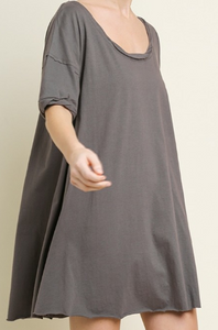 UMGEE Short Gathered Sleeve Scoop Neck Dress - CHARCOAL