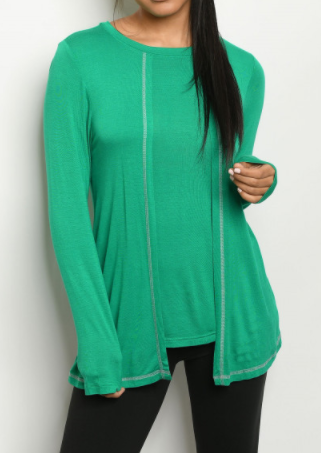 Long Sleeve Sew Stitch Detail Overlap Top - Green