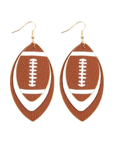 FOOTBALL SPORTS LAYERED LEATHER EARRINGS - BROWN