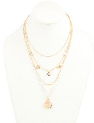 GOLD 4 LAYERED CHAIN NECKLACE WITH PENDANT