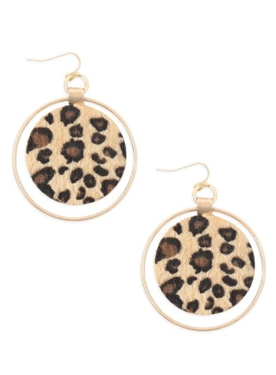 ANIMAL SKIN ROUND METAL HOOP EARRINGS-BEIGE