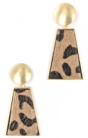 GOLD LEOPARD PRINT FASHION EARRINGS