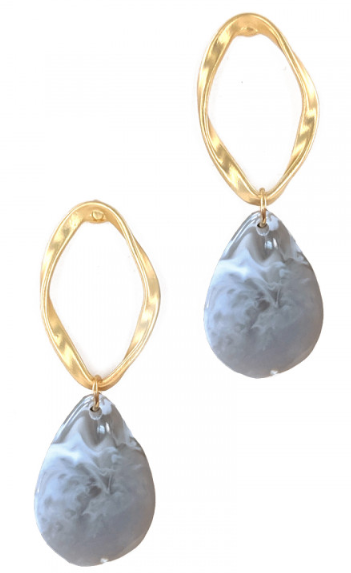 GREY TEARDROP MARBLE EARRINGS