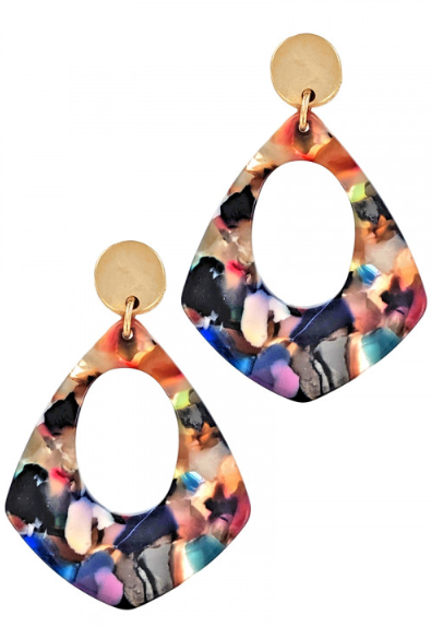 RESIN WITH MATTE GOLD FASHION EARRINGS